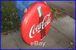 Large Vintage 1950's Drink Coca Cola Button Soda Pop 36 Porcelain Metal Sign