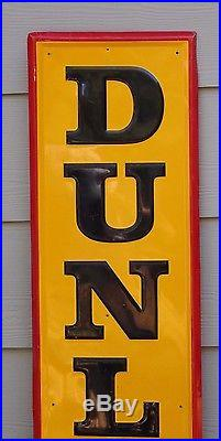 Large Vintage 1950's Dunlop Tires Embossed Tin Advertising Sign 60 High