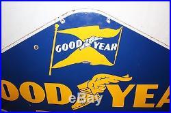 Large Vintage 1950's Goodyear Tires Tire Gas Oil 48 Porcelain Metal Sign