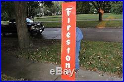 Large Vintage 1960's Firestone Tires Gas Station Oil 72 Embossed Metal Sign