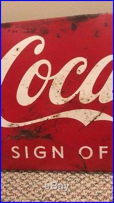 Large Vintage Coca Cola Soda Pop Gas Station Porcelain Metal Sled Sign Store