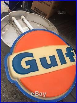 Large Vintage Gulf Gas Station Gasoline Motor Oil 28 Lighted Sign Original Original Vintage