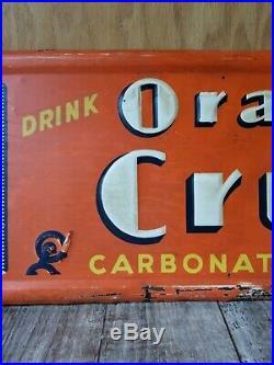 Large Vintage Orange Crush Soda Pop Gas Station 39 Embossed Metal Sign Original