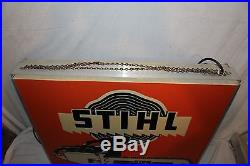 Large Vintage Stihl Chain Saws Farm Tool Gas Oil 2 Sided 29 Lighted Metal Sign