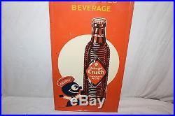 Large Vintage c. 1940 Orange Crush Crushy Soda Pop Bottle 47 Embossed Metal Sign