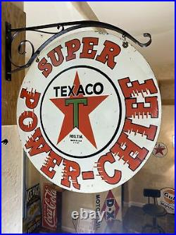 Large Vintage''texaco'' Double Sided 30 Inch Porcelain Sign With Bracket Nice