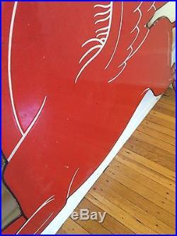 MOBIL PEGASUS Original gas Station Red Vintage Steel Sign Advertising