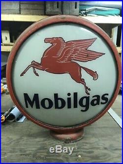 Mobilgas Vintage Antique Glass Gas Pump Globe 100% Original Gas Station Garage