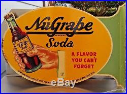 NICE RARE VINTAGE 1930-40's NUGRAPE SODA FLANGE ADVERTISING SIGN NOS 20X13.5
