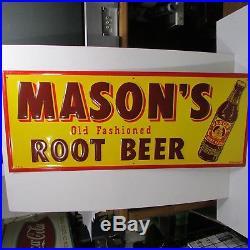 NOS! Vintage Mason's Root Beer Sign Embossed Old 1950's Original Advertising
