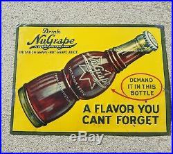 NUGRAPE VINTAGE SODA POP SIGN EMBOSSED BOTTLE 1930s