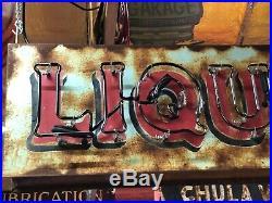 OLD Vintage LIQUOR Double Sided NEON SIGN Antique PATINA Pub BAR Mancave TAVERN