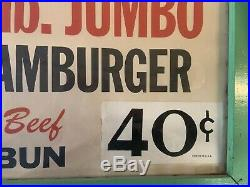 ORIGINAL VINTAGE 1950's WOOLWORTH LUNCH COUNTER RESTAURANT HAMBURGER SIGN