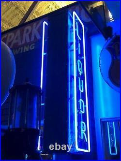 ORIGINAL Vintage LIQUOR Sign DOUBLE SIDED Vertical NEON Bar Pub MANCAVE Gas Oil