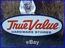 ORIGINAL Vintage Porcelain TRUE VALUE Hardware Store Sign Farm Hardware