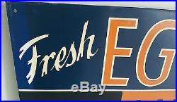 Old Vintage Beacon Feeds Fresh Eggs Advertising Tin Chalkboard