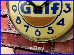 Old Vtg Ingraham Gulf-oil Dealer Advertising Gas Station Garage Wall Clock Sign