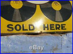 Original 1930s Old Antique Vintage Twin Gramophone Records Porcelain Enamel Sign