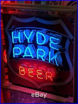 Original 1940's Hyde Park Beer Porcelain Neon Sign St Louis, Missouri Vintage