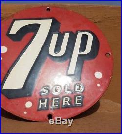 Original 1940's Old Vintage Very Rare 7 Up Ad. Porcelain Enamel Sign Board