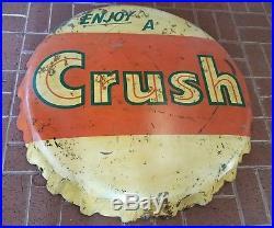 Original 1940's Vintage Orange Crush Bottle Cap Sign