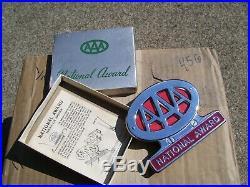 Original 1950s nos AAA auto club badge emblem chrome vintage scta GM Ford Chevy