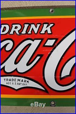 Original COCA COLA 1931 Vintage Porcelain Enamel Advertising Sign Soda Pop Great
