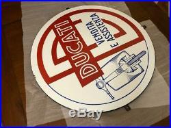 Original DUCATI Enamel Sign Porcelain Service Vintage 1950s NOS Scooter Dealer