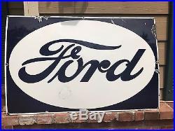 Original Huge Vintage 1930s Porcelain Ford Dealer Sign, Veribrite Signs Chicag