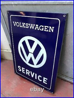Original VOLKSWAGEN Service Porcelain VW Sign Vintage 1960s Dealer Enamel MINT