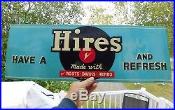 Original Vintage 1940's Hires Soda Pop Embossed Tin Sign 27 X 9.5 Ex Condition