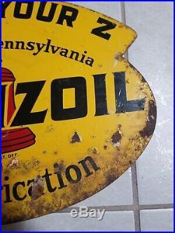 Original Vintage 1947 Pennzoil Motor Oil Gas Station 2 Sided 31 Metal Sign