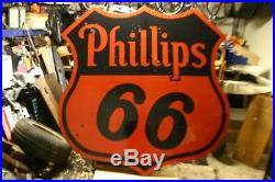 Original Vintage 1956 Phillips 66 Porcelain Sign 70 Oil & Gas Advertising Sign