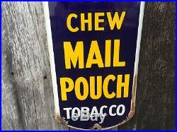 Original Vintage Antique Chew Mail Pouch Tobacco Porcelian Thermometer Therm Old