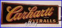 Original Vintage Carhartt Union Overalls Stout Sign Co. Porcelain Sign