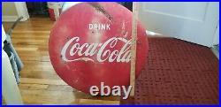 Original Vintage Coca Cola 24 Round Button Sign