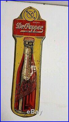 Original Vintage Dr Pepper 1930's Embossed Metal Soda Pop Thermometer Sign 17