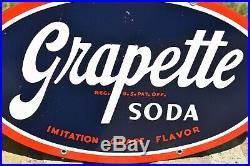 Original Vintage GRAPETTE Enamel Porcelain Grape Soda Pop Store Advertising Sign