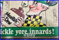 Original Vintage Mountain Dew Advertising Sign Ya-hooo
