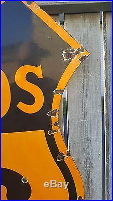 PHILLIPS 66 30 DSP Porcelain Metal Sign Oil Gas Badge Service Station Vintage
