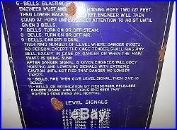 RARE Antique BELL SIGNAL MINE HOIST SIGN Porcelain BIG Vtg Mining Shaft Dynamite