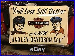 RARE VINTAGE PORCELAIN HARLEY-DAVIDSON DEALER SIGN Knucklehead Panhead