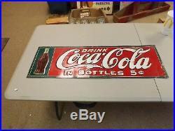 RARE Vintage 1916 Coca-Cola Bottle Metal Sign Original Gas Oil Soda Nice! 35x11