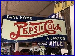 RARE Vintage 1939 Pepsi Cola Double Dot 2 Sided Advertising Flange Sign ORIGINAL