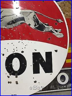 RARE Vintage Leaping LION DSP PORCELAIN Pole Sign GAS oil Station