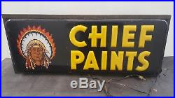 RARE Vintage Neon Products Chief Paints Lighted Sign 30