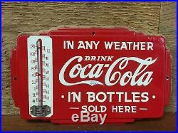 RARE Vintage Original Coca Cola Coke Soda Advertising Thermometer Door Push Sign
