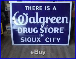 RARE Vintage SIOUX CITY WALGREEN Pharmacy Drugs Porcelain Advertising Sign