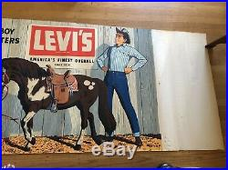 REDUCED! Original, rare and vintage Levi's advertising banner from early-1950s