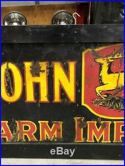 RaRE ORIGINAL Vintage JD JOHN DEERE FARM IMPLEMENTS Sign Old Tractor PORCELAIN